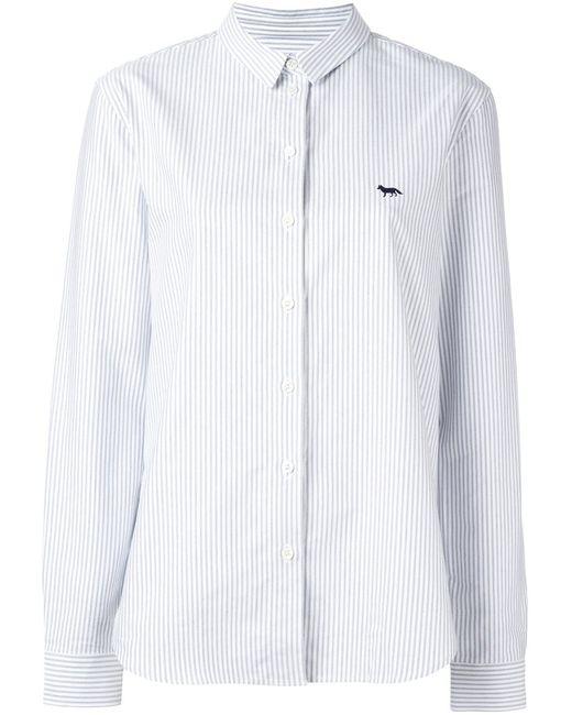 Maison Kitsune   Женская Белая Рубашка В Полоску