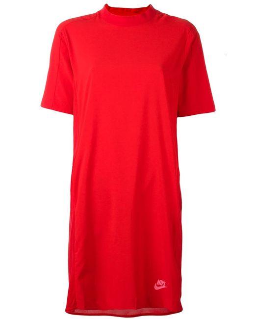 Nike | Женское Красное Платье-Футболка Nsw