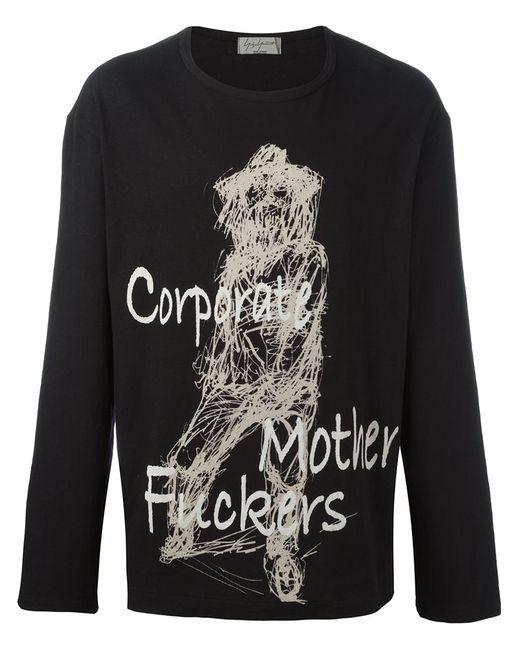 Yohji Yamamoto   Мужское Чёрный Scratched Sketch Sweatshirt