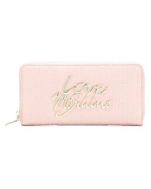Love Moschino   Женское Розовый Logo Plaque Wallet