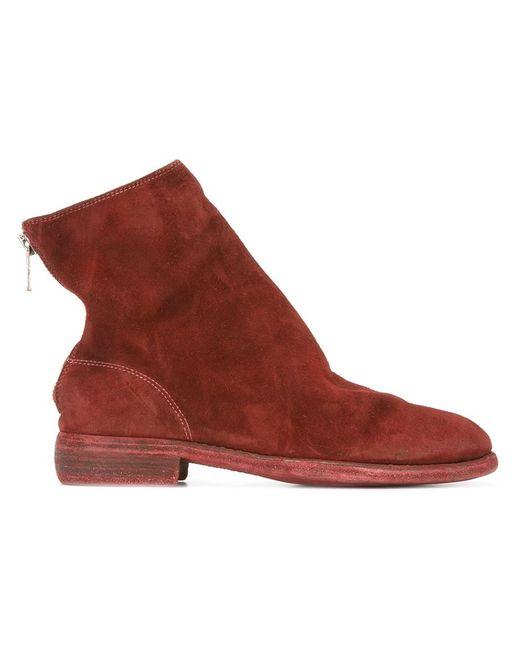 GUIDI | Мужские Красные Ботинки На Молнии
