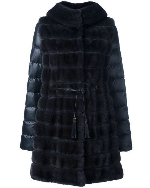 Liska | Женское Чёрный Mink Fur Hooded Puffer Coat