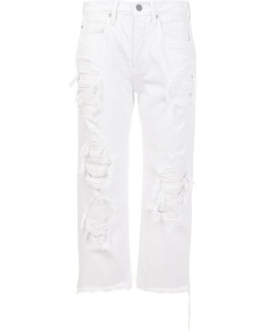 Alexander Wang   Женское Белый Distressed Cropped Jeans