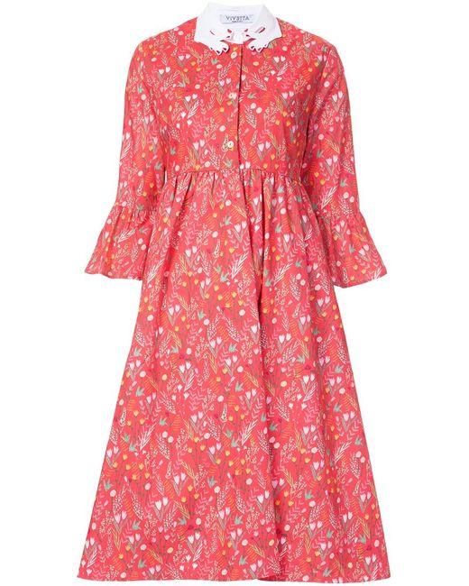 Vivetta   Женское Розовый Ruffle Sleeve Shirt Dress