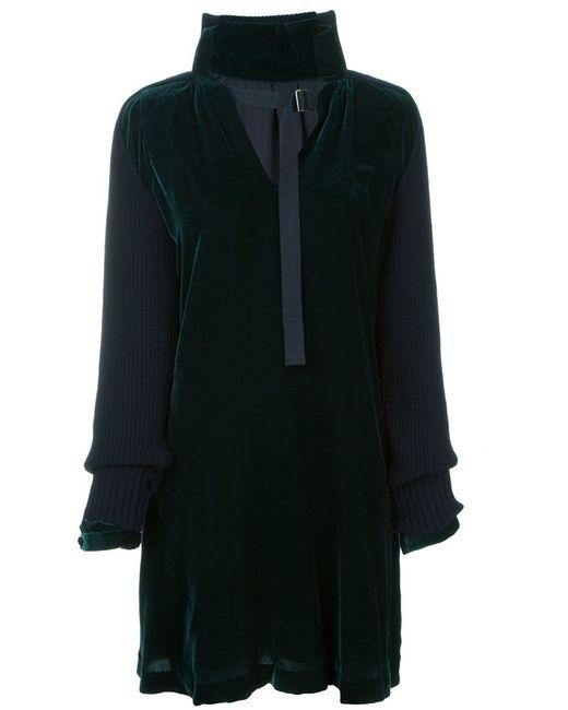 Sacai | Женское Зелёный Knitted Sleeve Velvet Dress