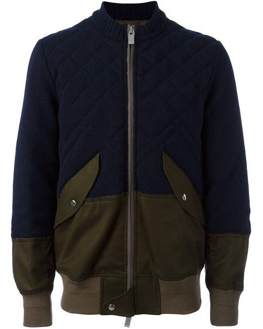 Sacai | Мужская Синяя Куртка-Бомбер С Панельным Дизайном