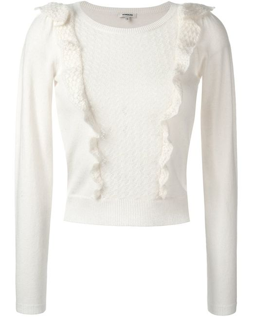 Manoush | Женское Белый Cropped Ruffled Jumper