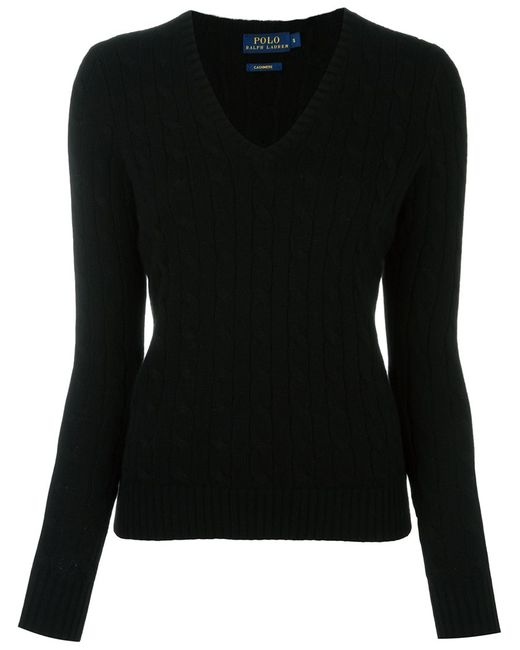 Polo Ralph Lauren   Женское Чёрный Cable Knit V Neck Jumper