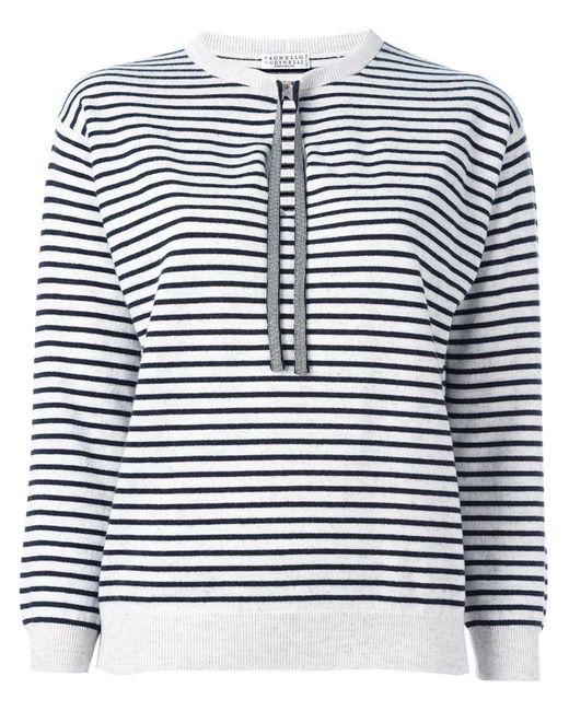 Brunello Cucinelli   Женское Серый Striped Fine Knit Jumper
