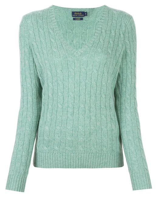 Polo Ralph Lauren | Женское Зелёный Cable Knit V Neck Jumper