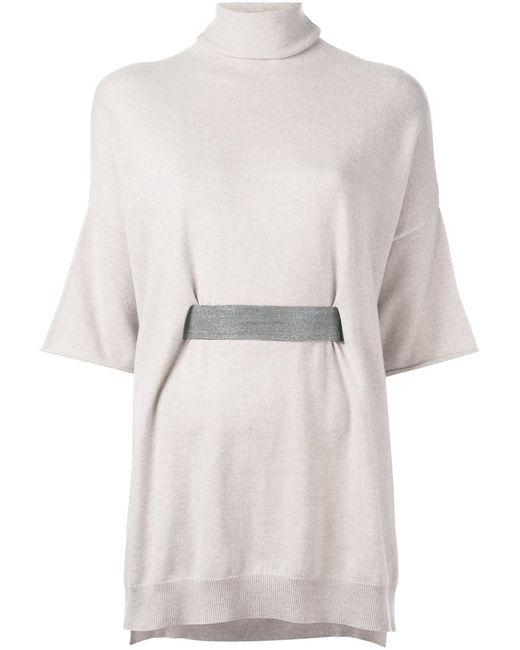 Brunello Cucinelli | Женское Nude & Neutrals Belted Turtleneck Knitted Top