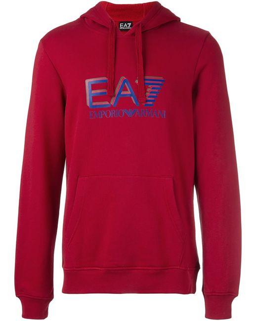 EA7 | Мужское Красный Logo Print Hoodie