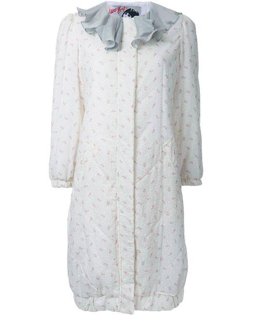 Jenny Fax | Женское Белое Пальто С Цветочным Рисунком И Оборками