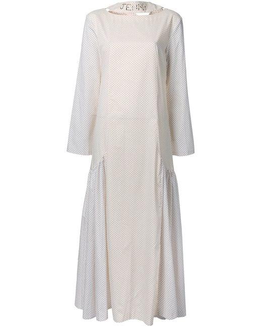 Jenny Fax | Женское Белое Длинное Платье С Рисунком В Горох
