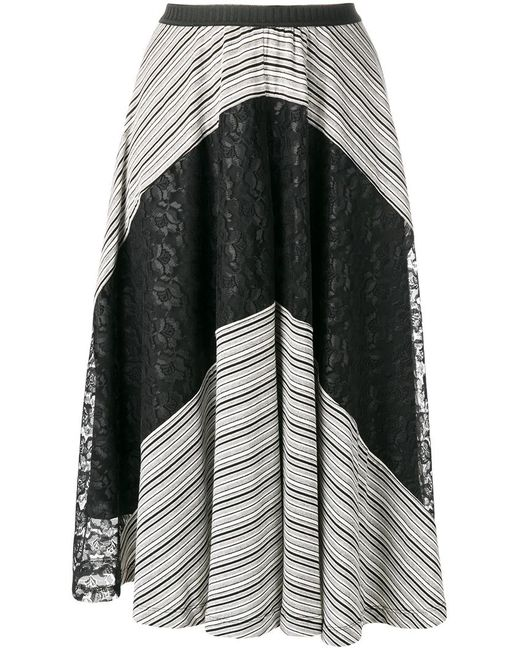 Antonio Marras   Женское Чёрный Lace Detail Skirt 42 Viscose/Polyester/Spandex/Elastane/Polyester