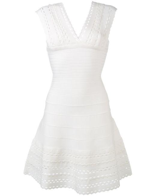 Hervé Léger | Женское Белый Cut-Out Details Flared Dress