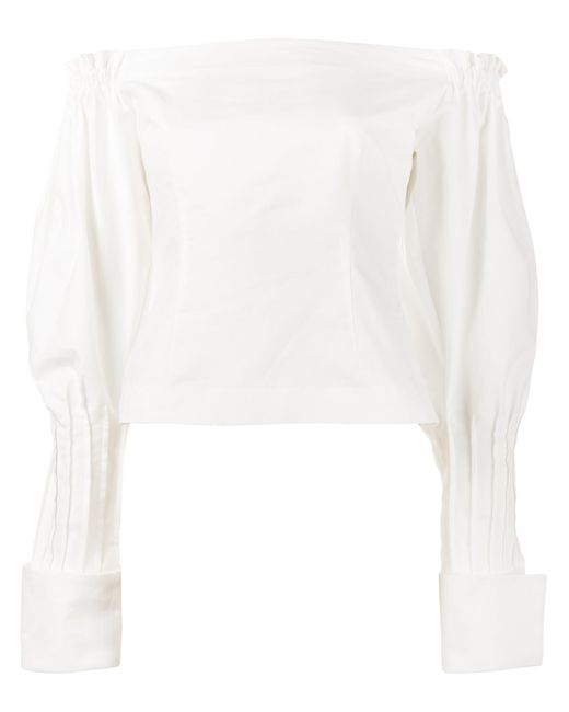 JACQUEMUS | Женское Белый Off-Shoulder Puff Sleeve Blouse 34 Cotton