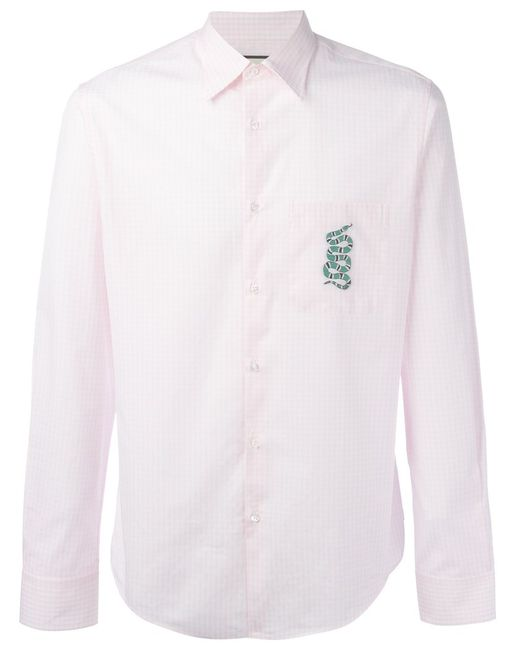 d6e2e49d87b Мужская Розовая Рубашка С Вышивкой Змеи В Клетку Гингем Gucci 892675669