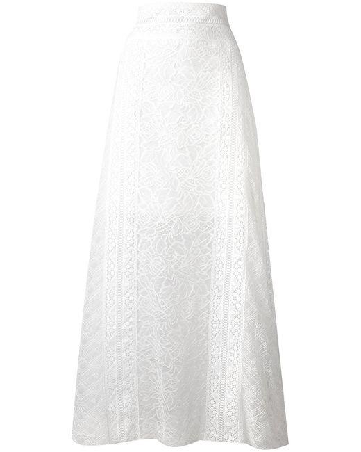 Oscar de la Renta | Женская Белая Кружевная Длинная Юбка