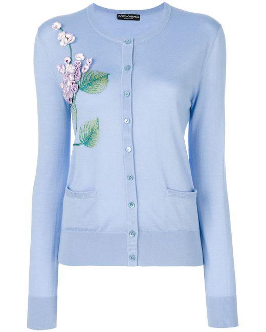 Dolce & Gabbana | Женский Синий Кардиган С Цветочной Вышивкой