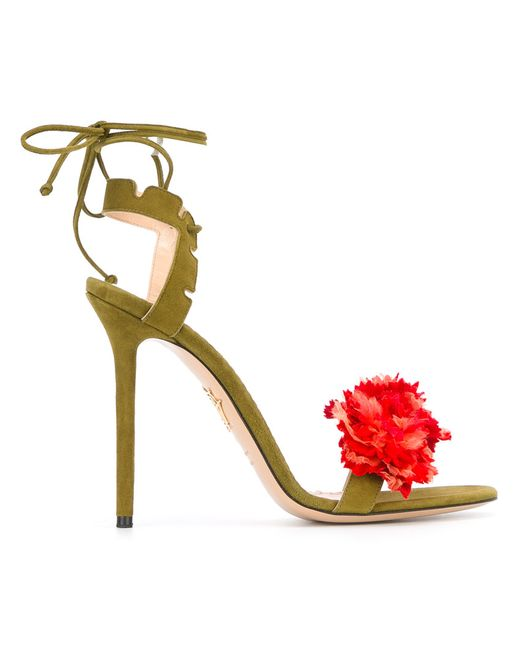 Charlotte Olympia   Женское Зелёный Carnation Stiletto Sandals Size 37