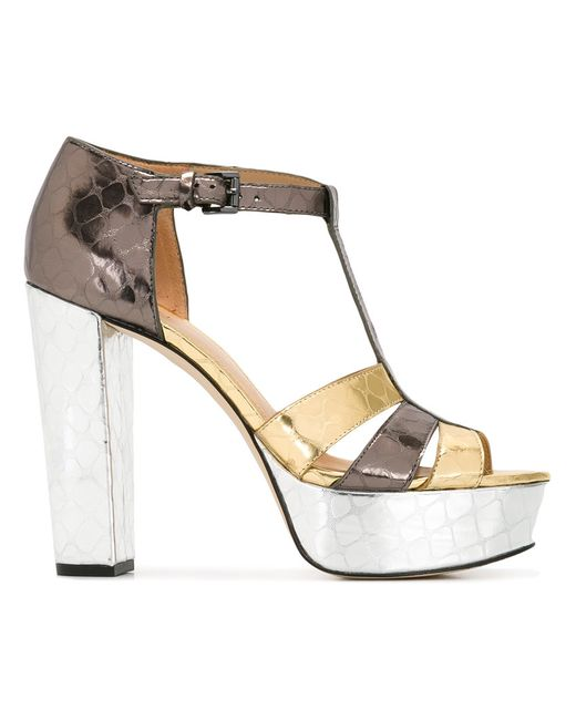 Michael Michael Kors | Женское Серебристый Platform Buckled Sandals 5 Leather/Rubber