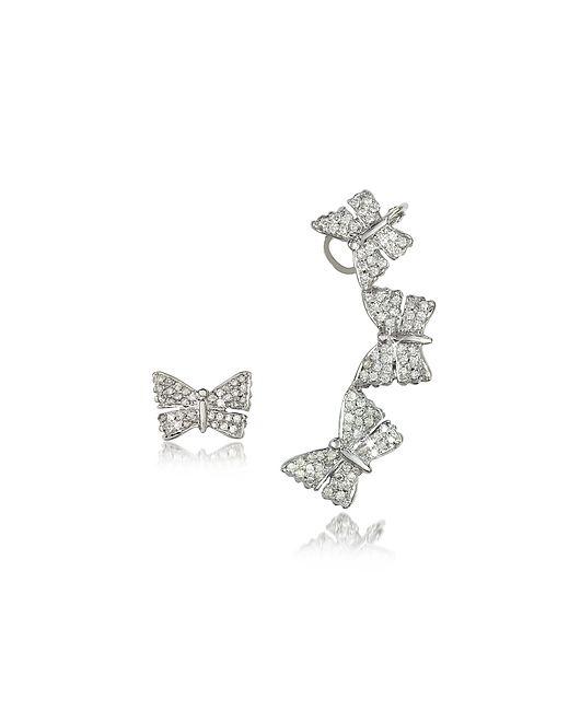 Bernard Delettrez | Золотой Butterflies Earrings W/Diamonds