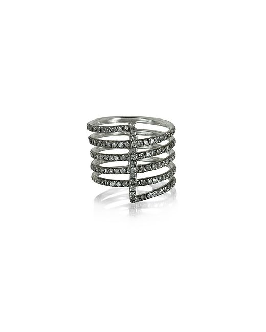 Bernard Delettrez | Золотой Four Bands 9k Ring W/Grey Diamonds Pave