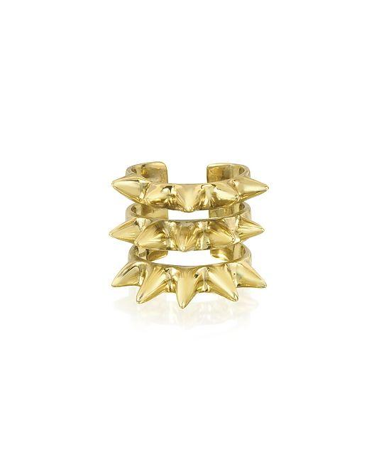 Bernard Delettrez | Золотой Triple Band Bronze Ring W/Spikes