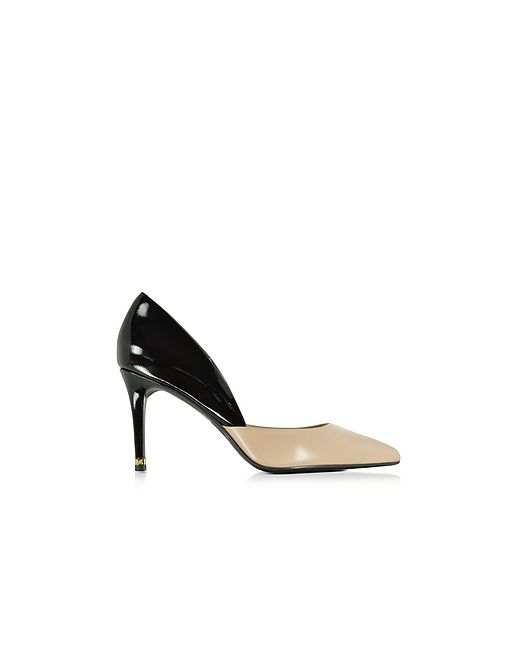 Michael Kors   Nude Ashby Bisque And Black Leather Mid Pump