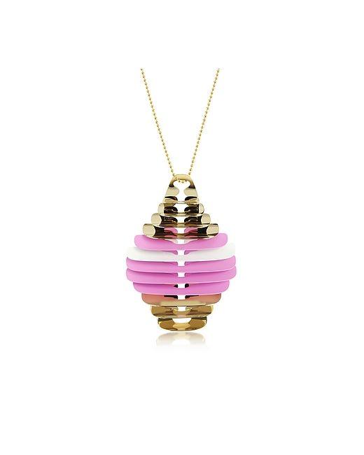 Pluma | Золотой Pink And White Fishbone Pendant Necklace