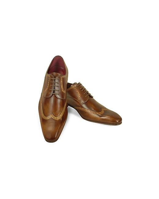 Fratelli Borgioli | Коричневый Handmade Light Italian Leather Wingtip Dress Shoes