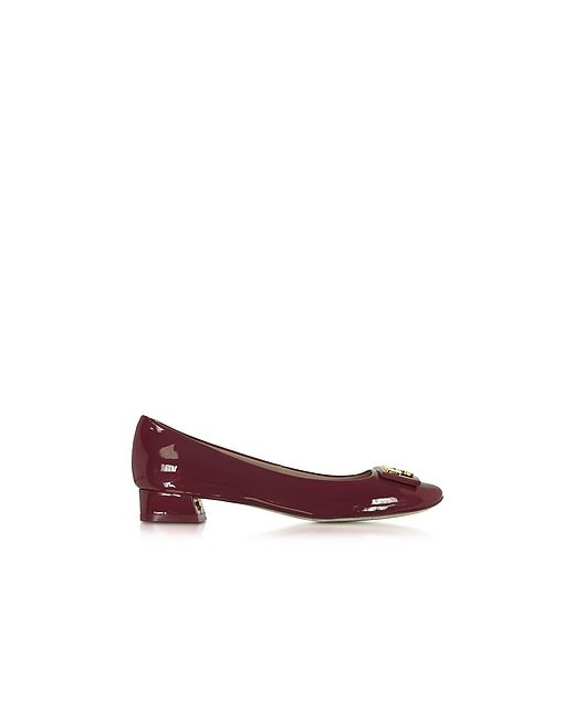 Tory Burch | Burgundy Gigi Patent Leather Mid-Heel Pump