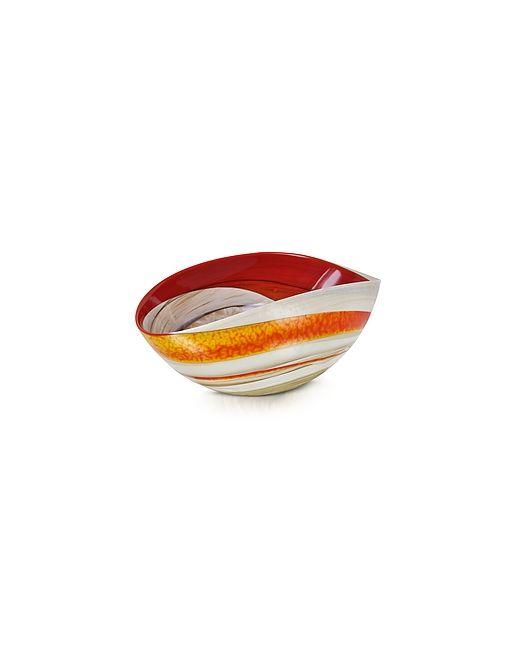 Yalos Murano   Красный Cartoccio Small And Ivory Marbled Murano Glass