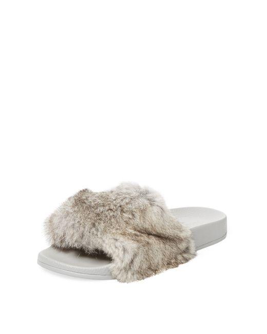Maiden Lane | Rabbit Fur Slip-On Sandal