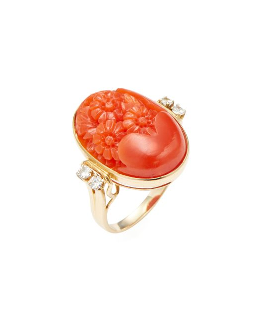 Estate Fine Jewelry | Estate Carved Coral 0.12 Total Ct. Flower