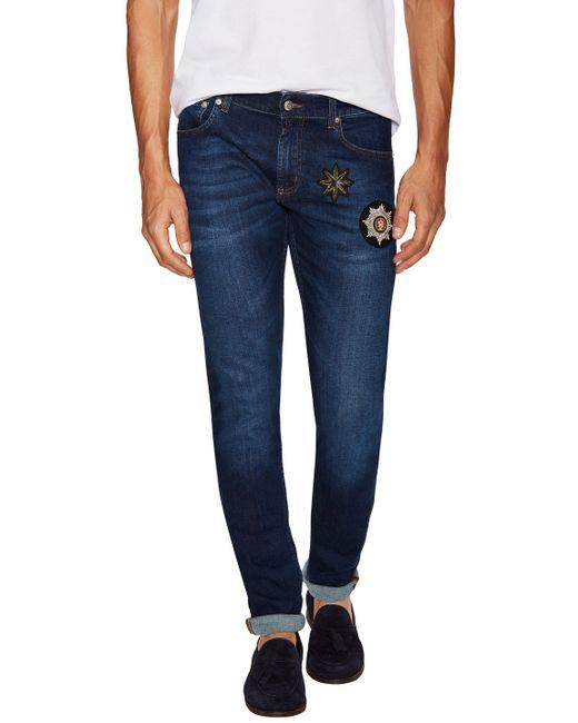 Alexander McQueen   Красный Embroidered Patches Straight Leg Jeans