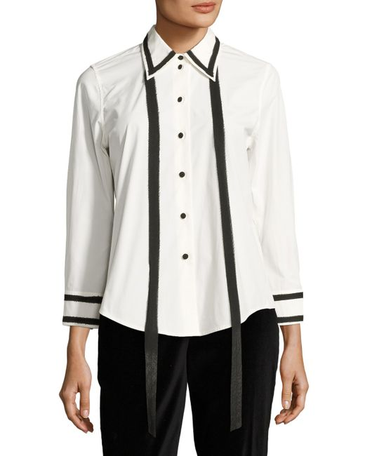Marc Jacobs | Cotton Mixed Media Tied Blouse