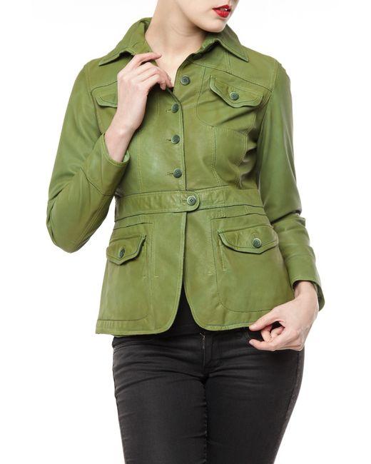 Germans leather | Женская Зелёная Куртка