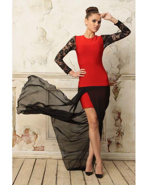 Tutto Bene   Женское Красное Платье С Кружевом