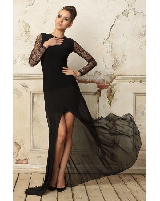 Tutto Bene | Женское Чёрное Платье С Кружевом