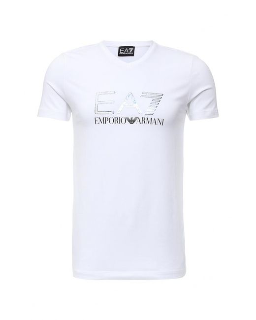 EA7   Мужская Белая Футболка