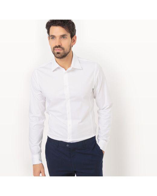 R essentiel | Мужская Белая Рубашка С Длинными Рукавами Покрой Супер Узкий