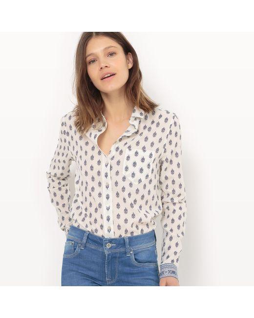 Pepe Jeans London   Женская Белая Рубашка С Цветочным Рисунком Длинные Рукава