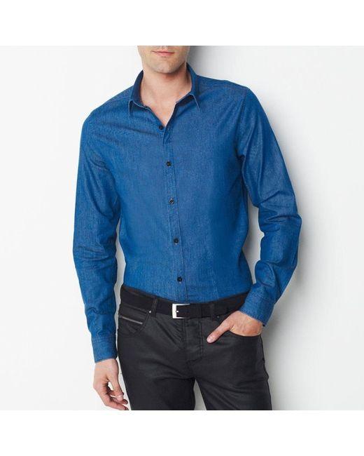 SOFT GREY   Мужская Синяя Рубашка Из Денима