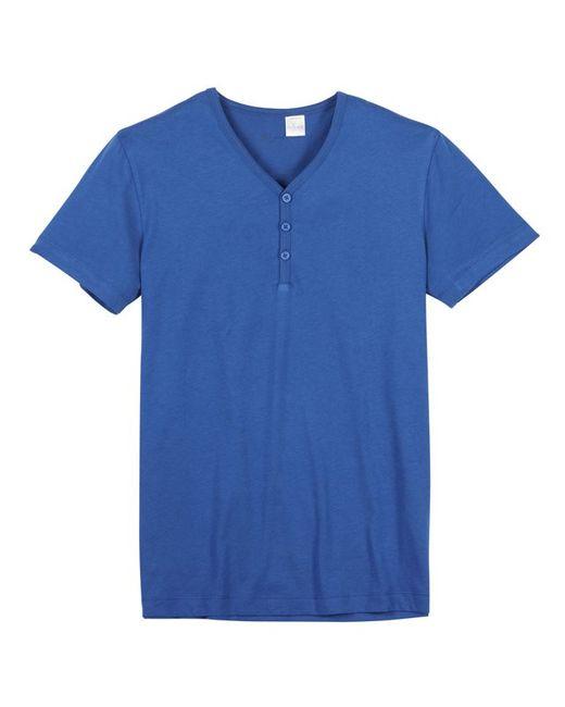 Мини-цена | Мужская Синяя Футболка Однотонная С Короткими Рукавами