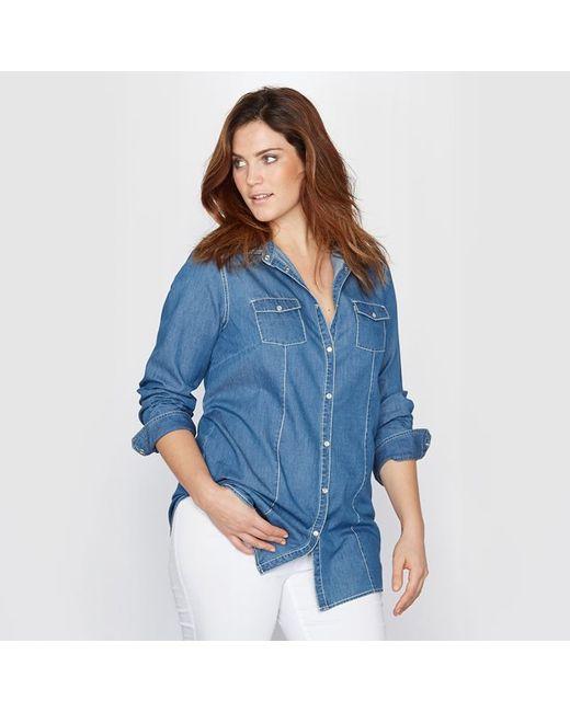 TAILLISSIME   Женская Синяя Рубашка Джинсовая 100 Хлопка