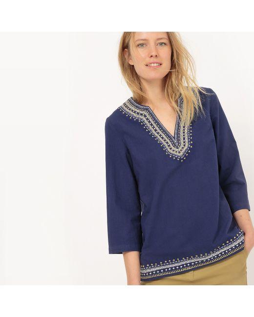 atelier R | Женская Синяя Блузка С Тунисским Воротом С Вышивкой И