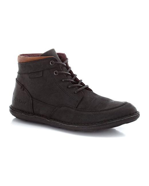 Kickers | Мужские Чёрные Ботинки Из Кожи Со Шнуровкой
