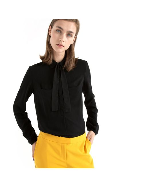 Мини-цена | Женская Чёрная Блузка С Отложным Воротником